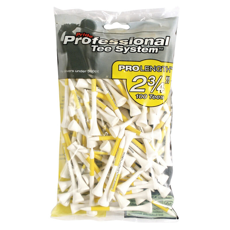 Pride Professional Golf Tees Large pack, Male, Tees, Yellow, 2 3/4 inches   Online Golf